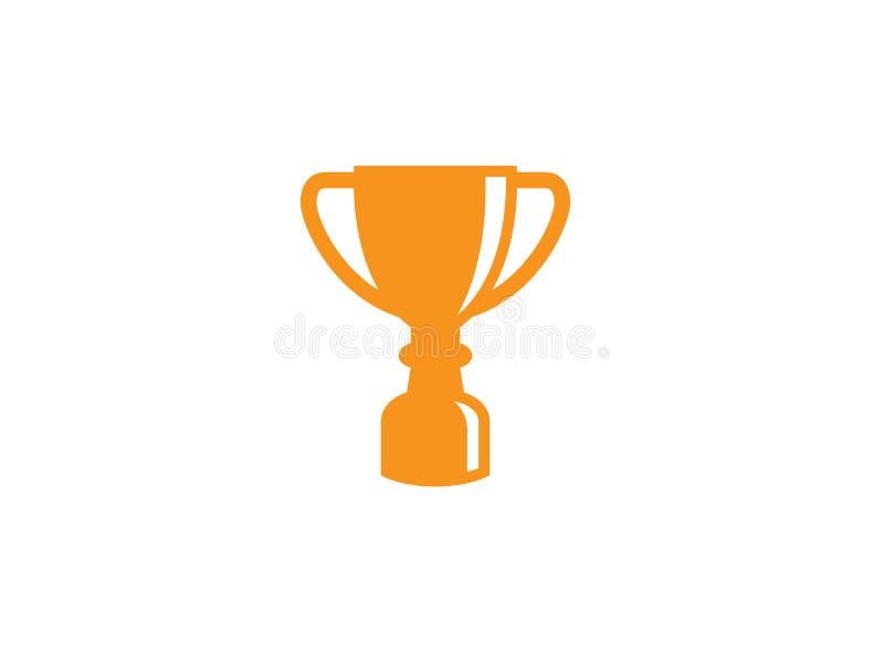 Copo dourado do troféu para a etiqueta da cerimônia do campeonato do esporte do vencedor, primeiro prêmio do lugar, vitória para  ilustração stock