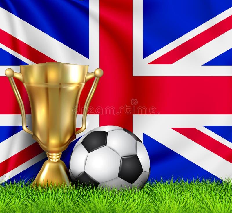 Copo dourado do troféu do vencedor e bola de futebol realísticos isolada na bandeira nacional de Reino Unido A equipe nacional ?  ilustração stock