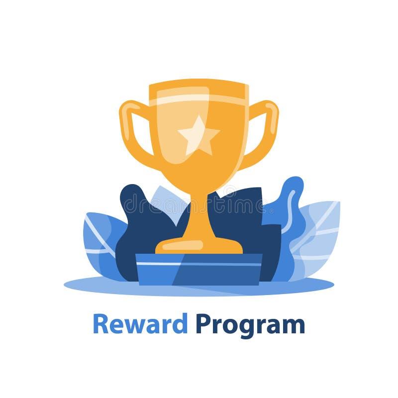 Copo dourado do vencedor, programa da recompensa, troféu da competição, realização grande, bacia amarela, prêmio por excelência,  ilustração do vetor