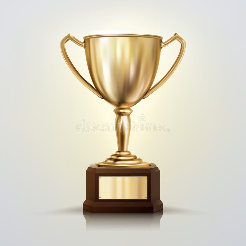 copo dourado do vetor 3d realístico isolado no fundo branco Troféu do campeonato Concessão do competiam dos esportes ilustração stock