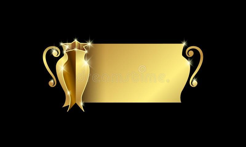 Copo dourado dos campeões com espaço para o texto Bandeira abstrata do troféu para a competição do futebol, do basquetebol, do fu ilustração do vetor