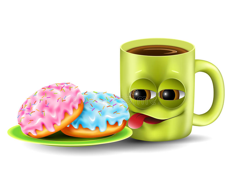 Copo e anéis de espuma engraçados de café ilustração do vetor