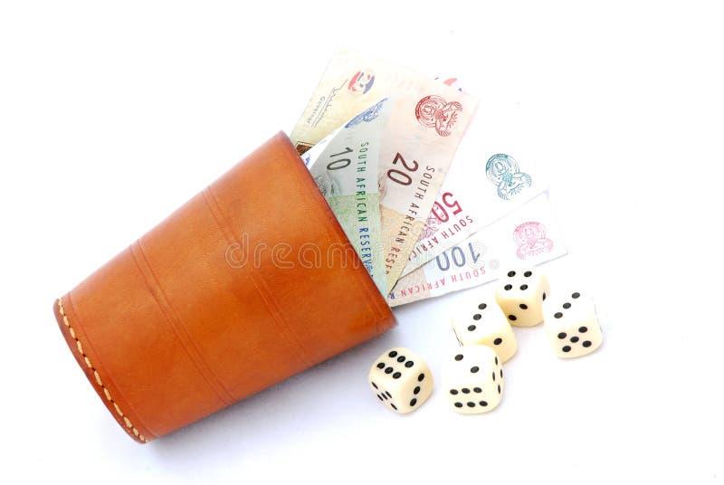 Copo e dinheiro de dados imagens de stock royalty free