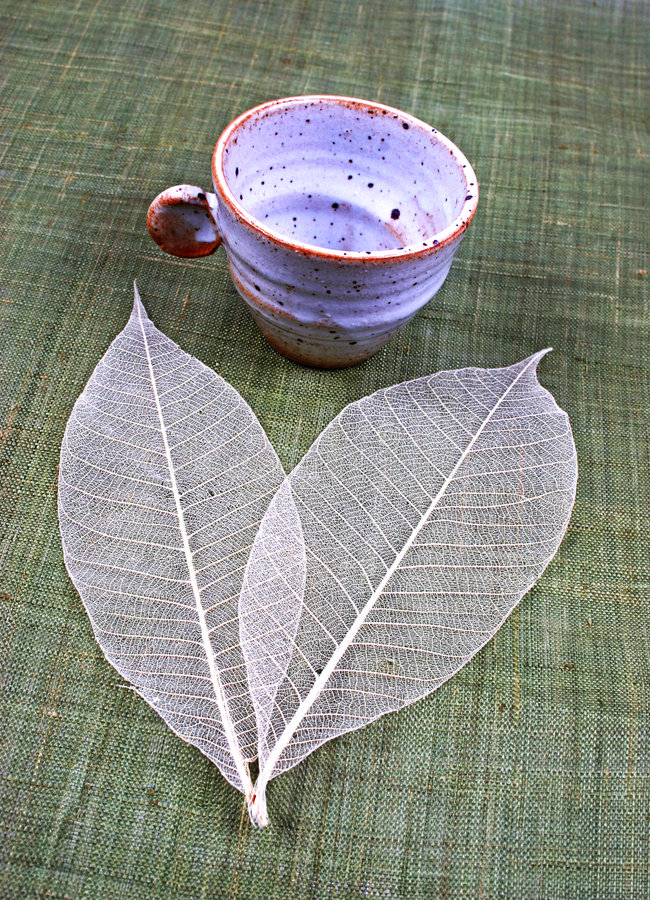 Copo e folhas da cerâmica fotografia de stock