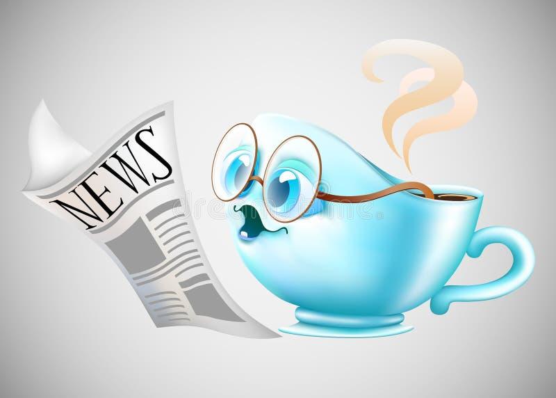 Copo e jornal de café ilustração do vetor
