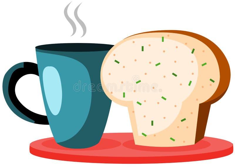 Copo e pão de café ilustração stock