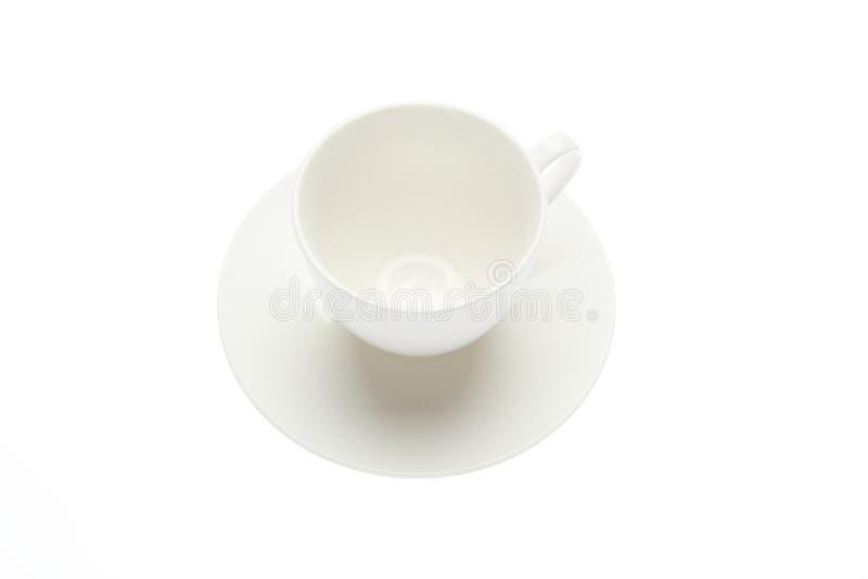 Copo e pires de café vazios em um fundo branco foto de stock