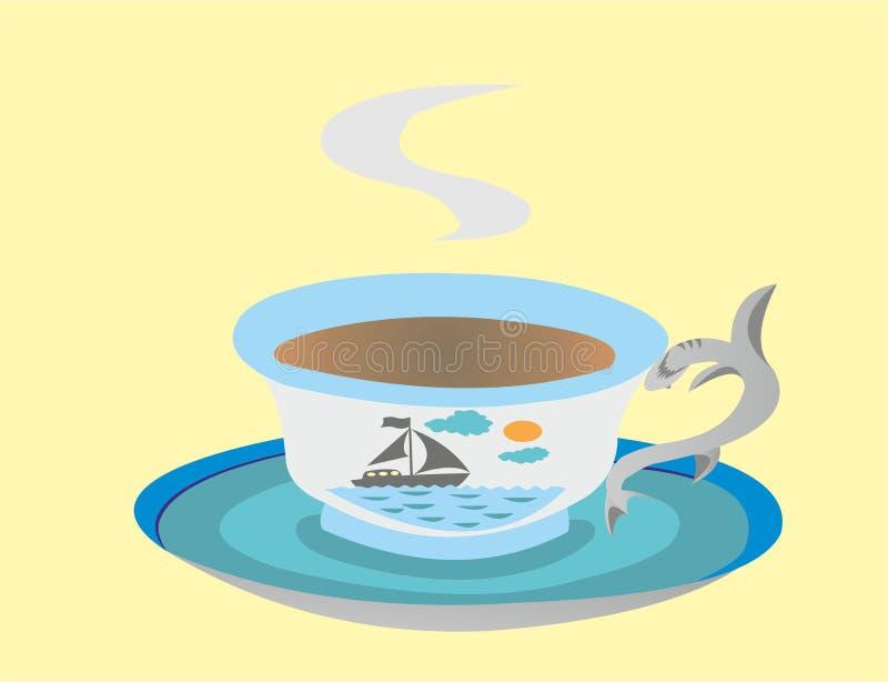 Copo e pires em um tema do mar ilustração royalty free