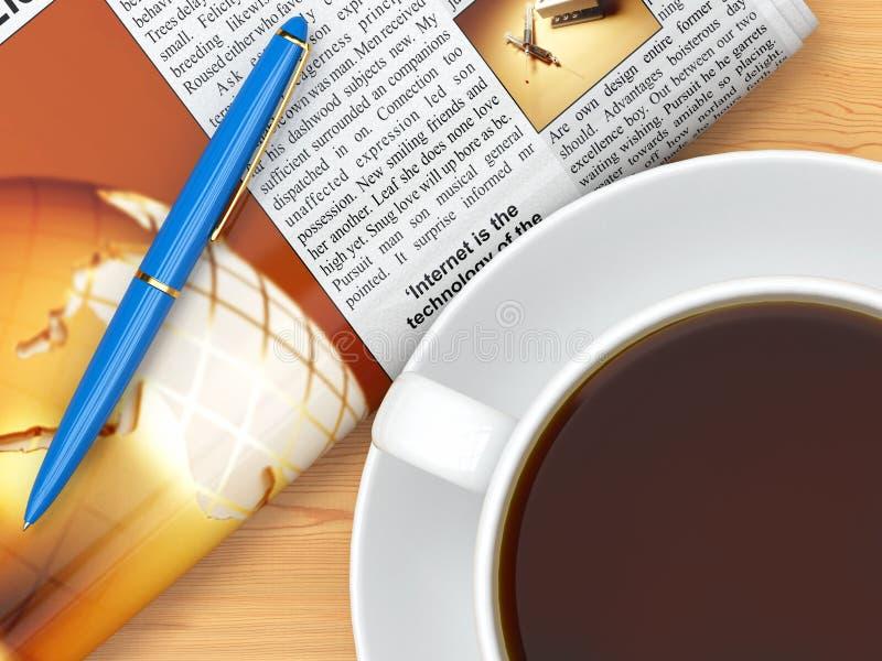 Copo, jornal e pena de café na tabela ilustração stock