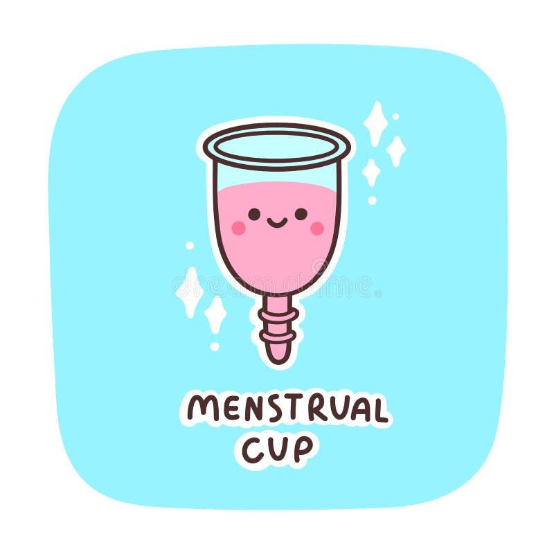Copo menstrual - caráter bonito do kawaii, em um fundo azul ilustração royalty free