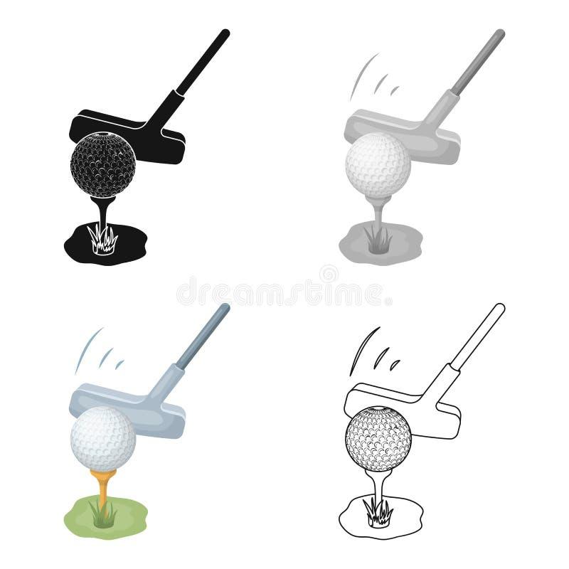 Copo para ganhar um competiam do golfe Ícone do clube de golfe único na Web preta da ilustração do estoque do símbolo do vetor do ilustração royalty free