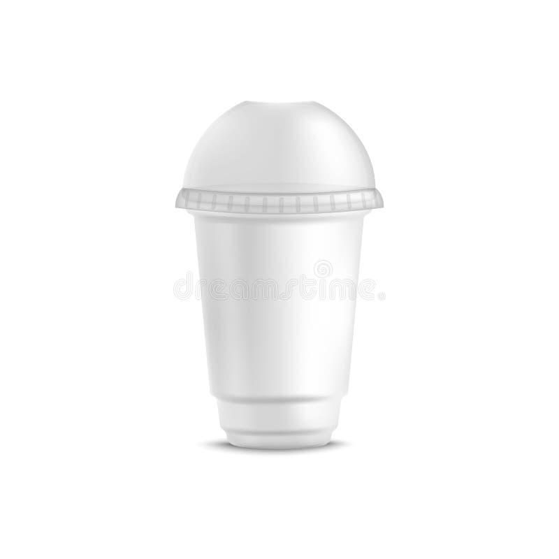Copo plástico descartável branco para a bebida fria com a tampa redonda da abóbada ilustração do vetor