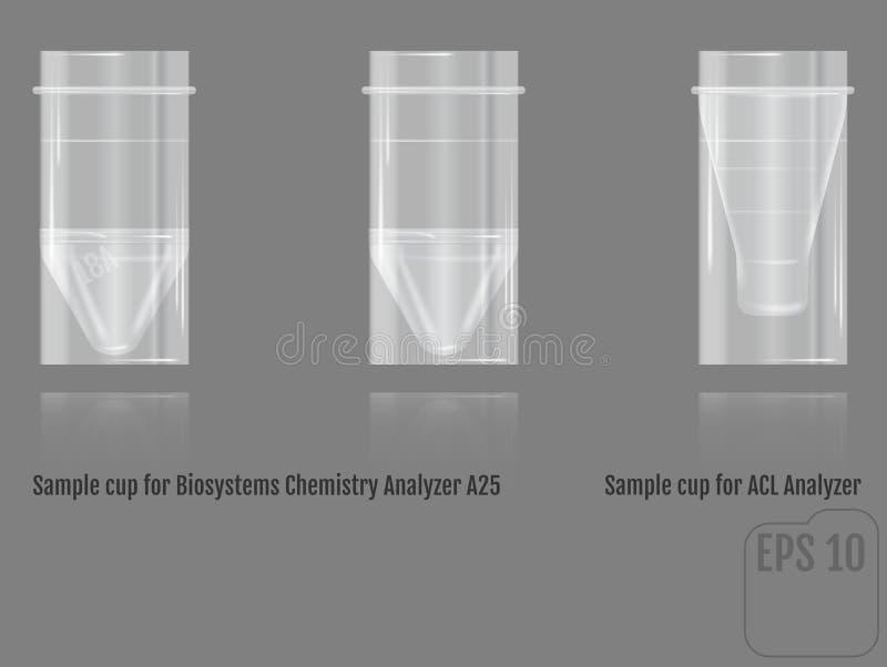Copo realístico da amostra do vetor para o analisador A2 da química das biosistemas ilustração stock