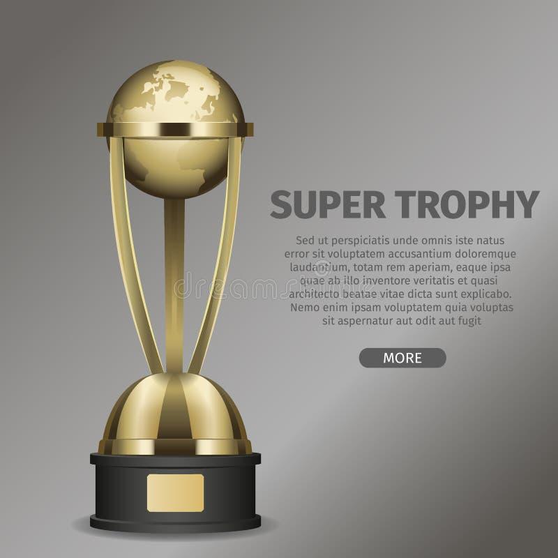 Copo super dourado do troféu com terra quadro do planeta ilustração stock