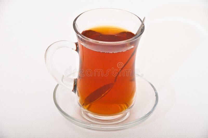 Copo turco tradicional do chá e o de vidro - chá preto foto de stock royalty free