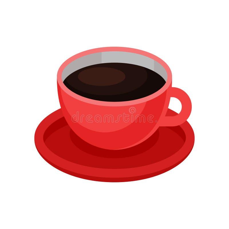 Copo vermelho do café preto fresco Bebida saboroso da manhã Tema quente da bebida Elemento isométrico do vetor para o café ou o r ilustração stock