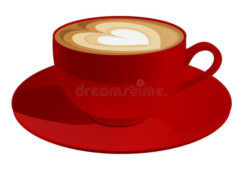 Copo vermelho do cappuccino ilustração stock