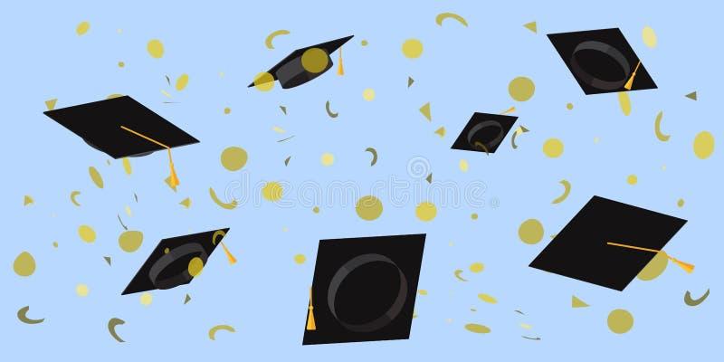 Copos acadêmicos jogados no céu em uma ilustração lisa do vetor dos confetes do placer ilustração royalty free