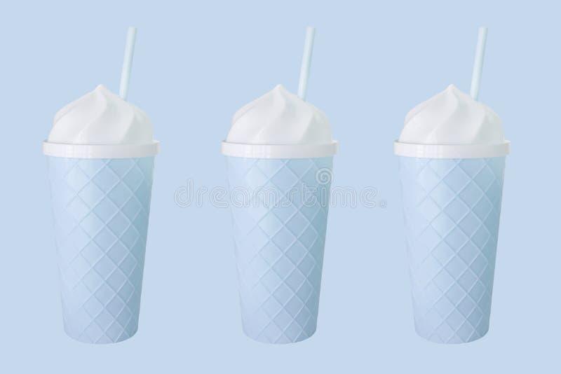 3 copos azuis no backround azul ilustração royalty free