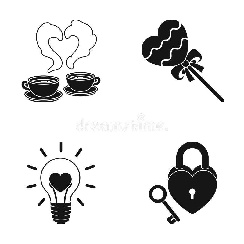 Copos com café, Valentim, lâmpada, fechamento com chave Os ícones românticos da coleção do grupo no estilo preto vector o estoque ilustração stock