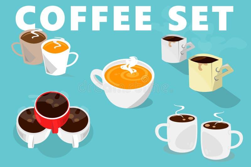 Copos de café ajustados Tipo cinco de copos ilustração stock