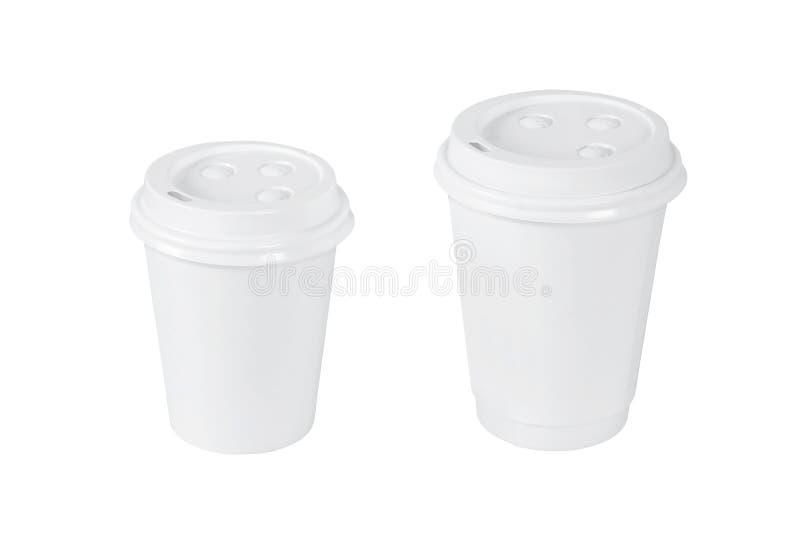 Copos de café branco isolados imagens de stock