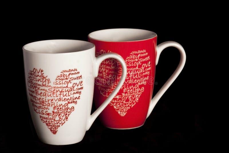Copos de café do Valentim fotografia de stock royalty free