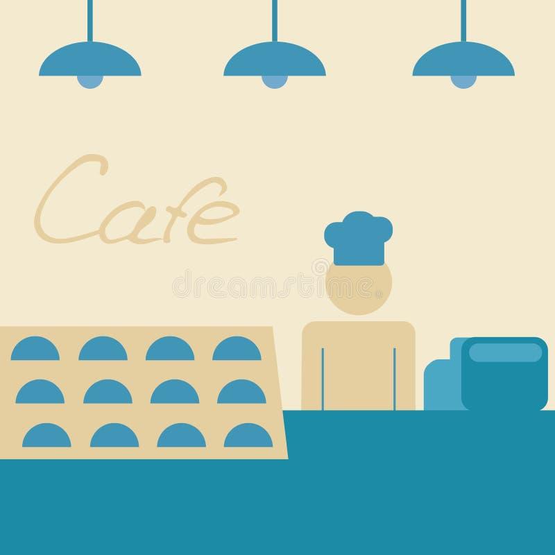 Copos de café e feijões de café frescos ao redor ilustração royalty free