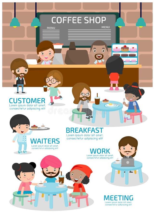 Copos de café e feijões de café frescos ao redor conceito urbano da sociedade Elemento de Infographic Projeto liso dos desenhos a ilustração do vetor