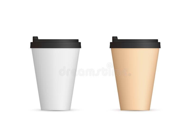 Copos de café de papel realísticos com opinião dianteira da tampa Café a ir vazio Ilustra??o do vetor isolada no fundo branco ilustração stock