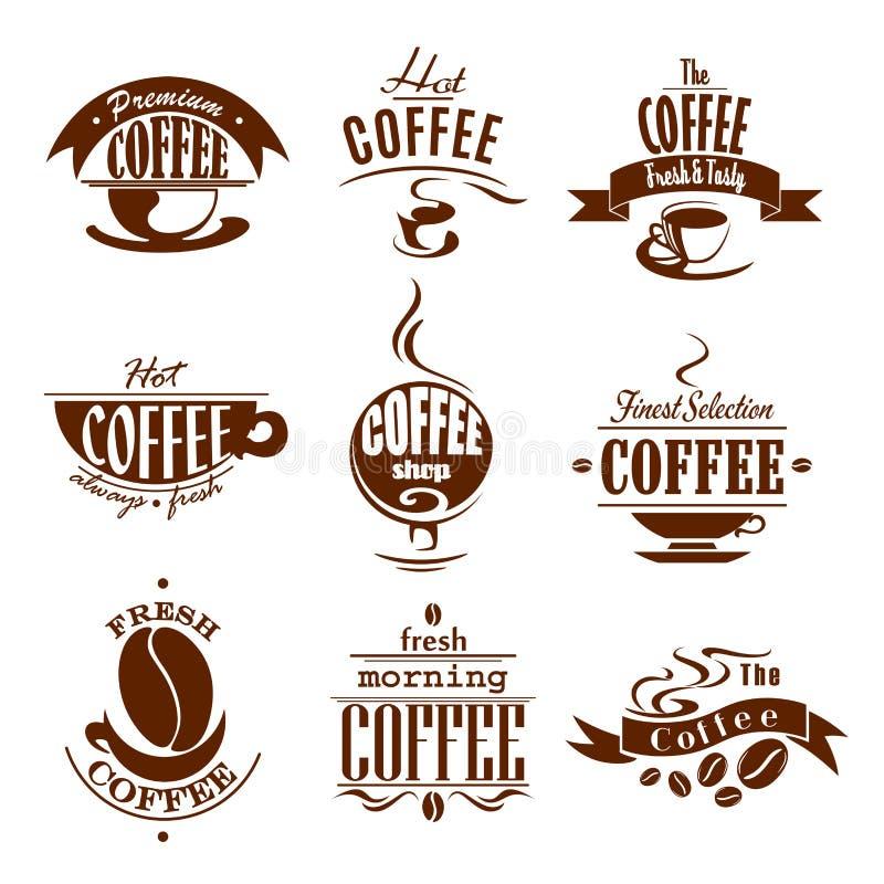 Copos de café para ícones do vetor da loja ou do bar ilustração royalty free