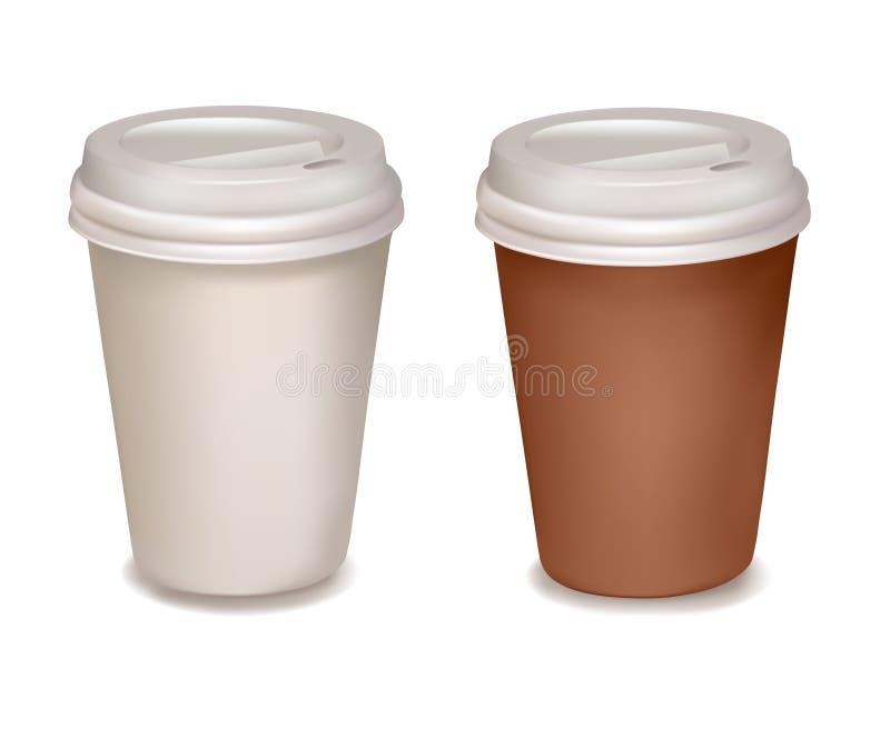Copos de café plásticos. Vetor. ilustração do vetor