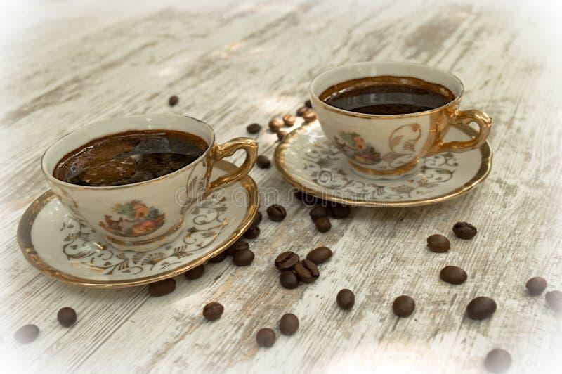 Copos de café preto 3 fotos de stock