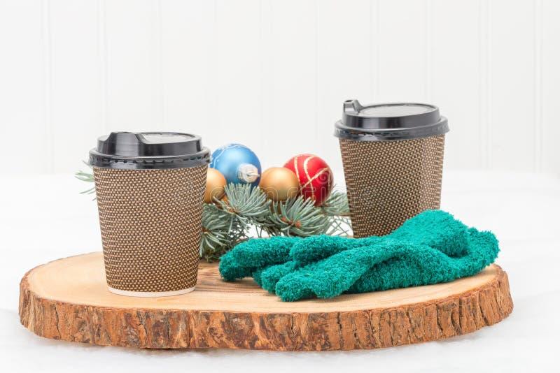Copos de café quentes foto de stock