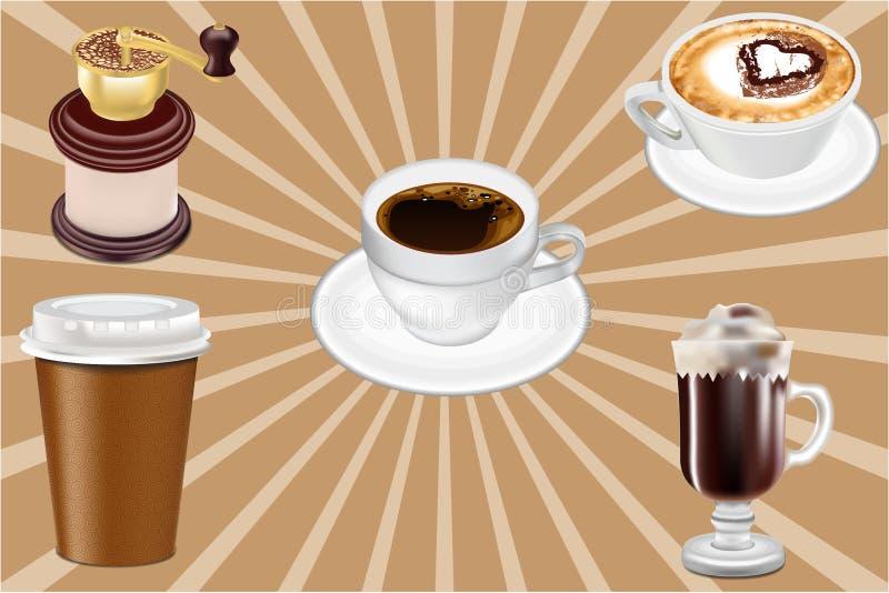 Copos de café realísticos do vetor ilustração stock