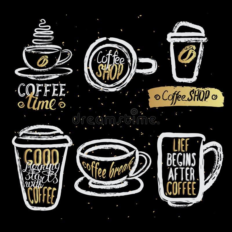 Copos de café tirados mão com rotulação ilustração stock