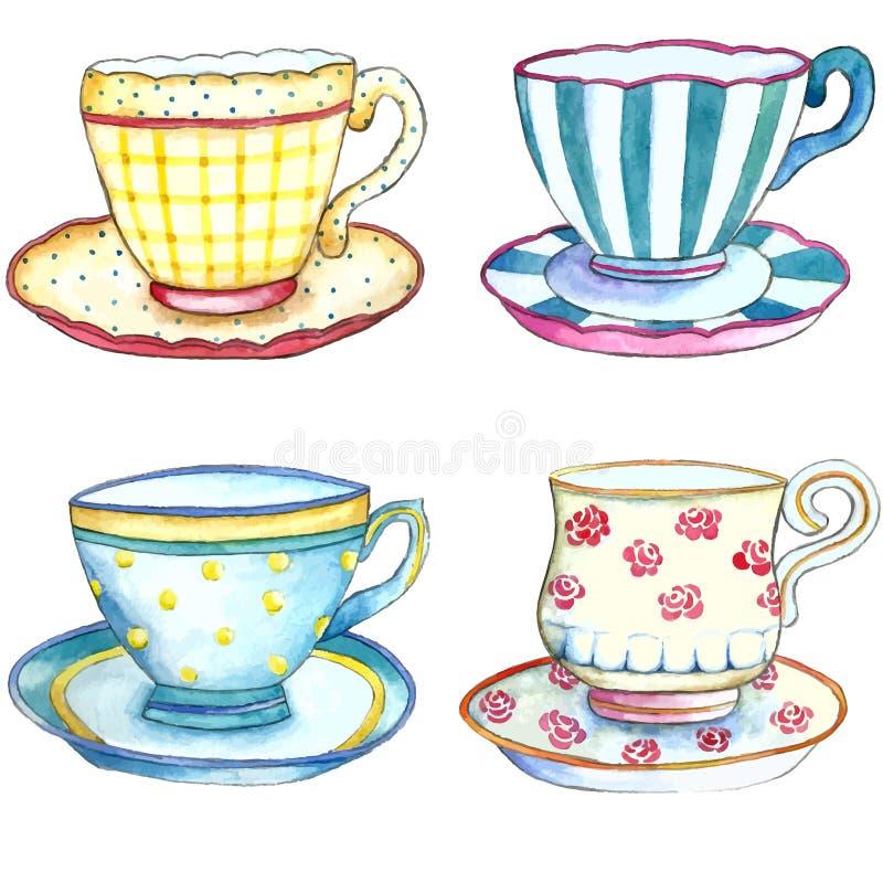 Copos de chá da aquarela ilustração do vetor