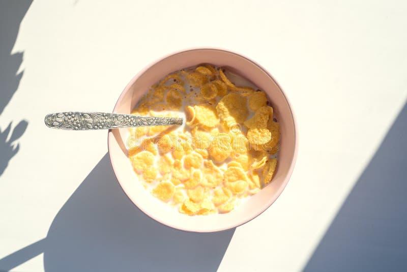 Copos de maíz en una placa rosada con una cuchara para el desayuno, en los rayos brillantes del sol entonado fotos de archivo