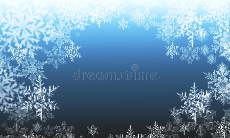Copos de nieve abstractos del invierno en un fondo azul libre illustration