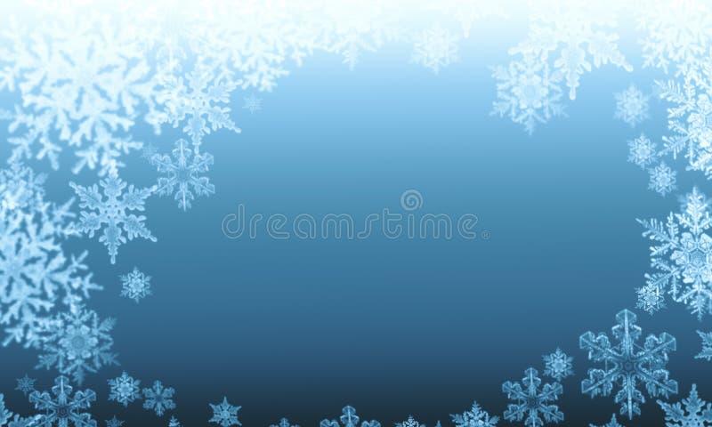 Copos de nieve abstractos del invierno en un fondo azul ilustración del vector