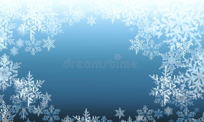 Copos de nieve abstractos del invierno en un fondo azul stock de ilustración