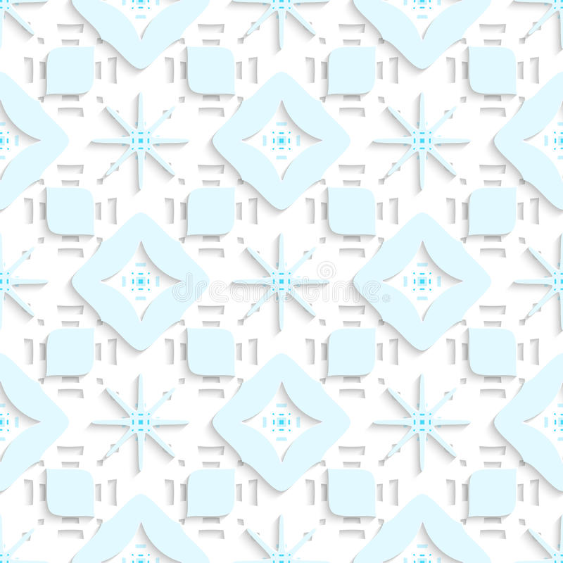 Copos de nieve azules en los rectángulos perforados superiores inconsútiles ilustración del vector
