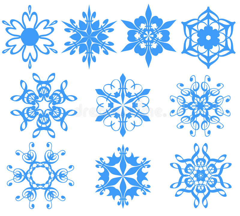 Copos de nieve azules sobre blanco. libre illustration