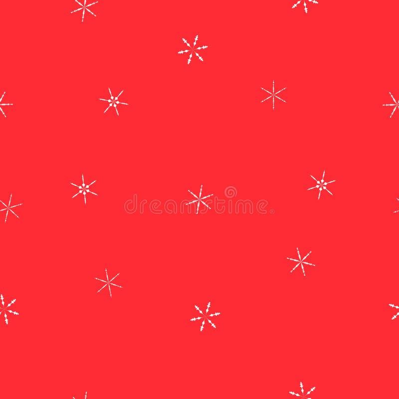 Copos de nieve blancos del modelo inconsútil en el rojo, vector EPS 10 stock de ilustración