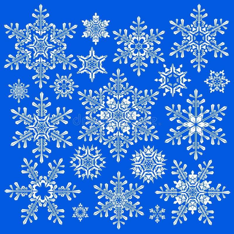 Copos de nieve blancos en azul ilustración del vector