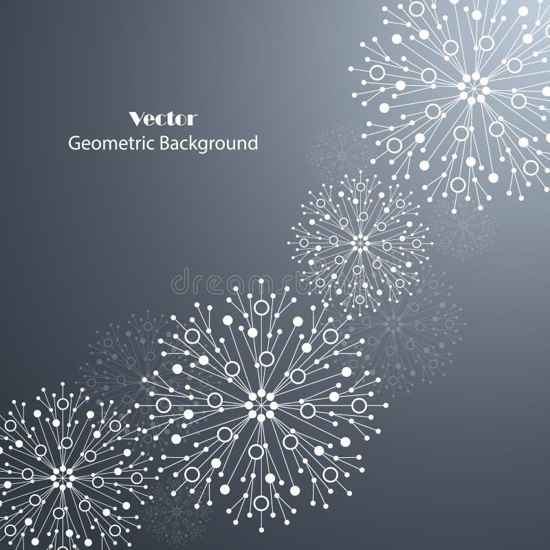 Copos de nieve blancos hechos de líneas y de puntos conectados libre illustration
