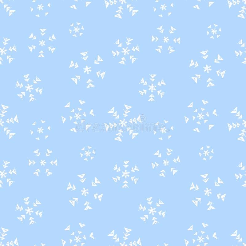 Copos de nieve blancos simples de las formas geométricas del Grunge en el modelo blueseamless, vector stock de ilustración