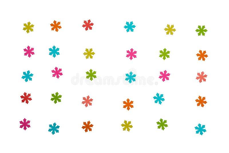 Copos de nieve coloridos hermosos en el fondo blanco imagen de archivo