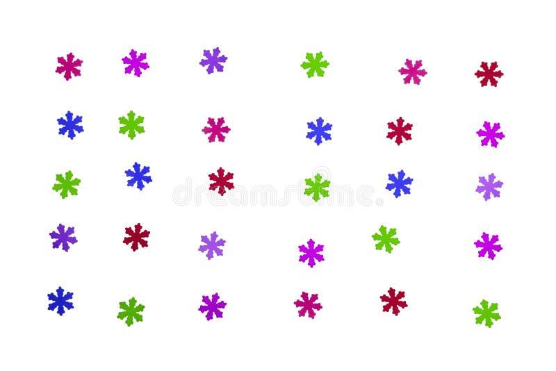 Copos de nieve coloridos hermosos en el fondo blanco fotografía de archivo
