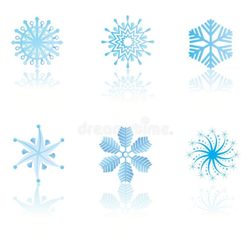 Copos de nieve cristalinos fríos hermosos del gradiente ilustración del vector